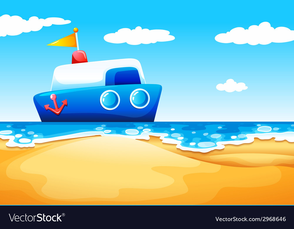 A sea with a boat vector | Price: 1 Credit (USD $1)