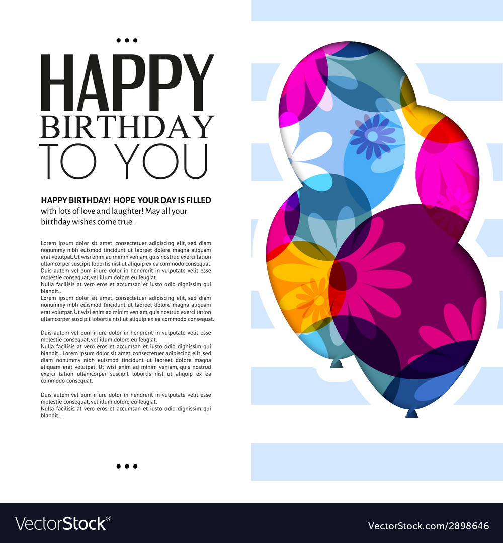 Birthday card with color balloons and text vector | Price: 1 Credit (USD $1)