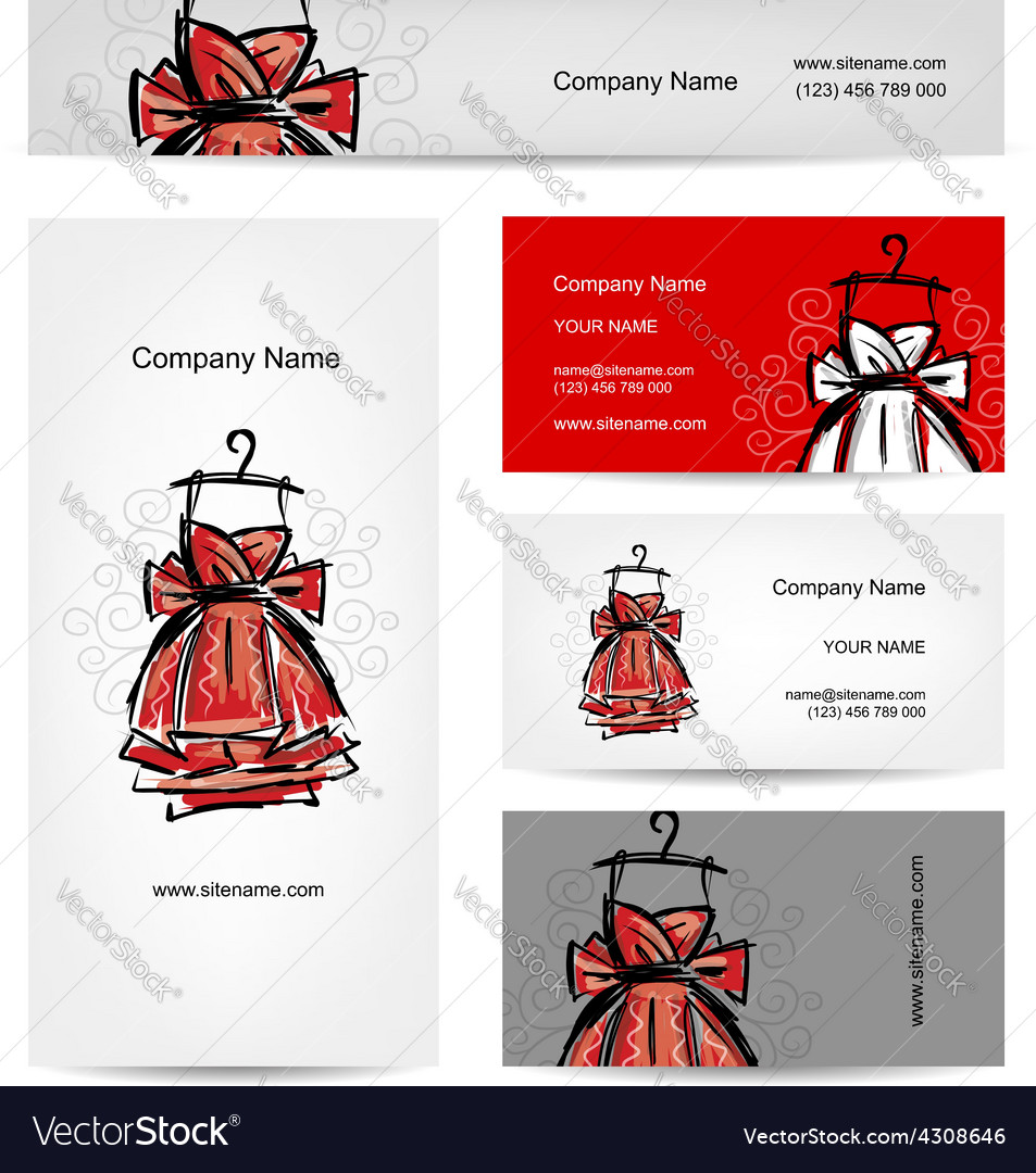Business cards design red dress vector | Price: 1 Credit (USD $1)