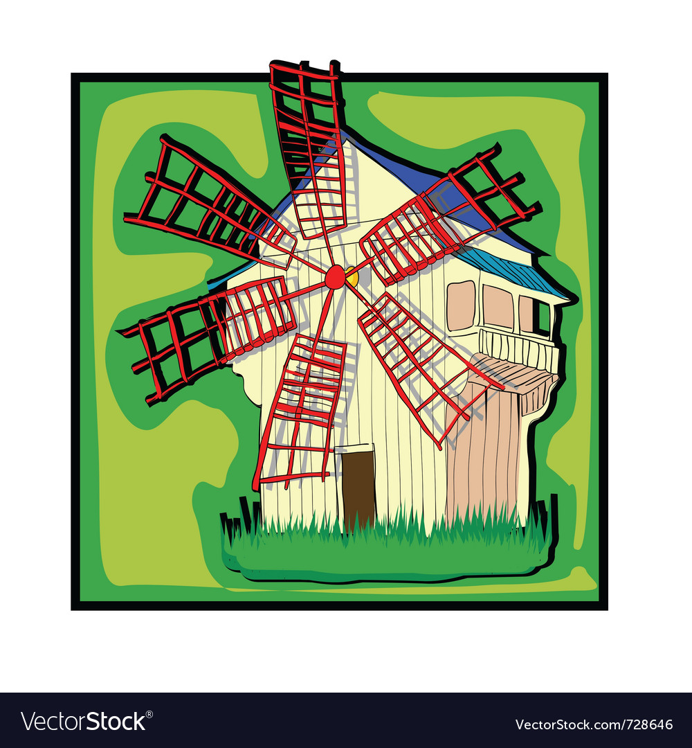 Ecological old country windmill vector | Price: 1 Credit (USD $1)