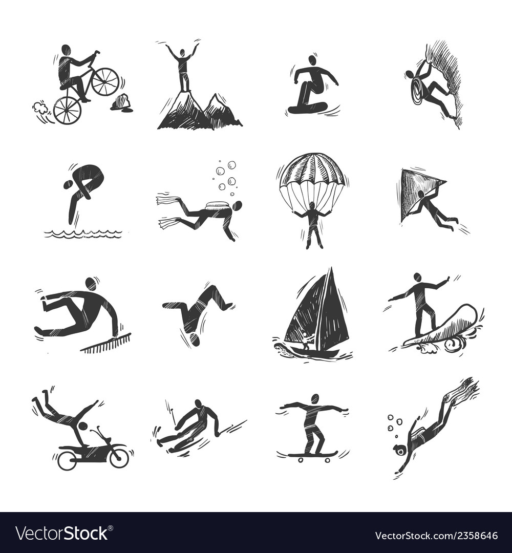 Extreme sports icons sketch vector | Price: 1 Credit (USD $1)