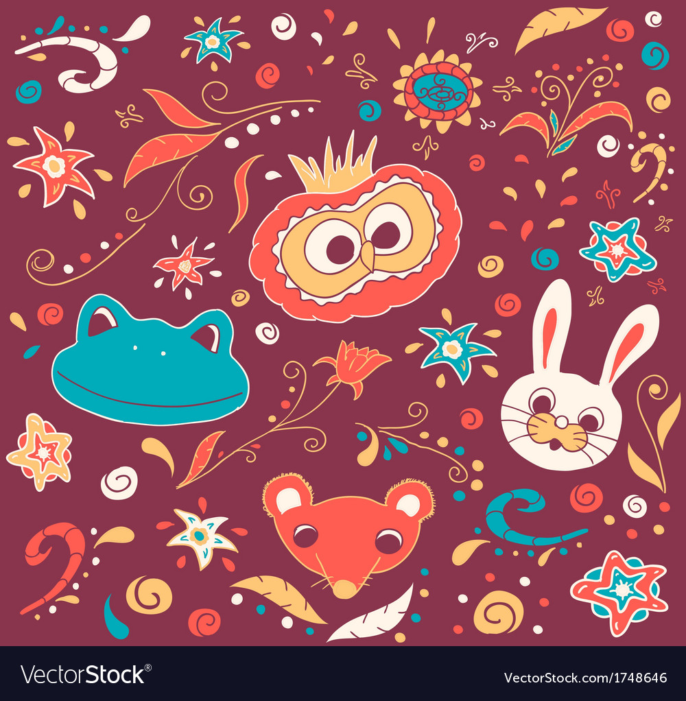 Floral and animal doodles drawing in vector | Price: 1 Credit (USD $1)