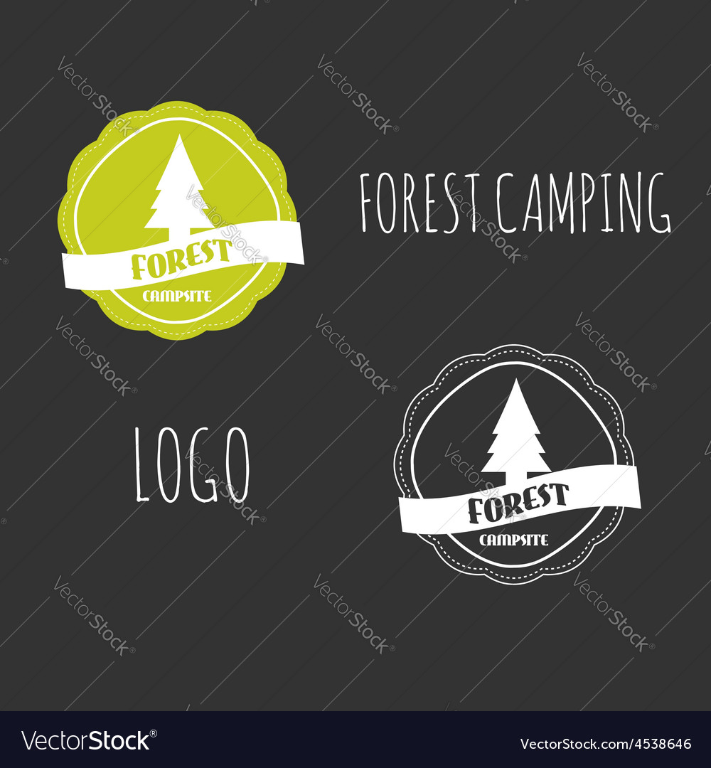 Forest camping wilderness adventure badge graphic vector | Price: 1 Credit (USD $1)