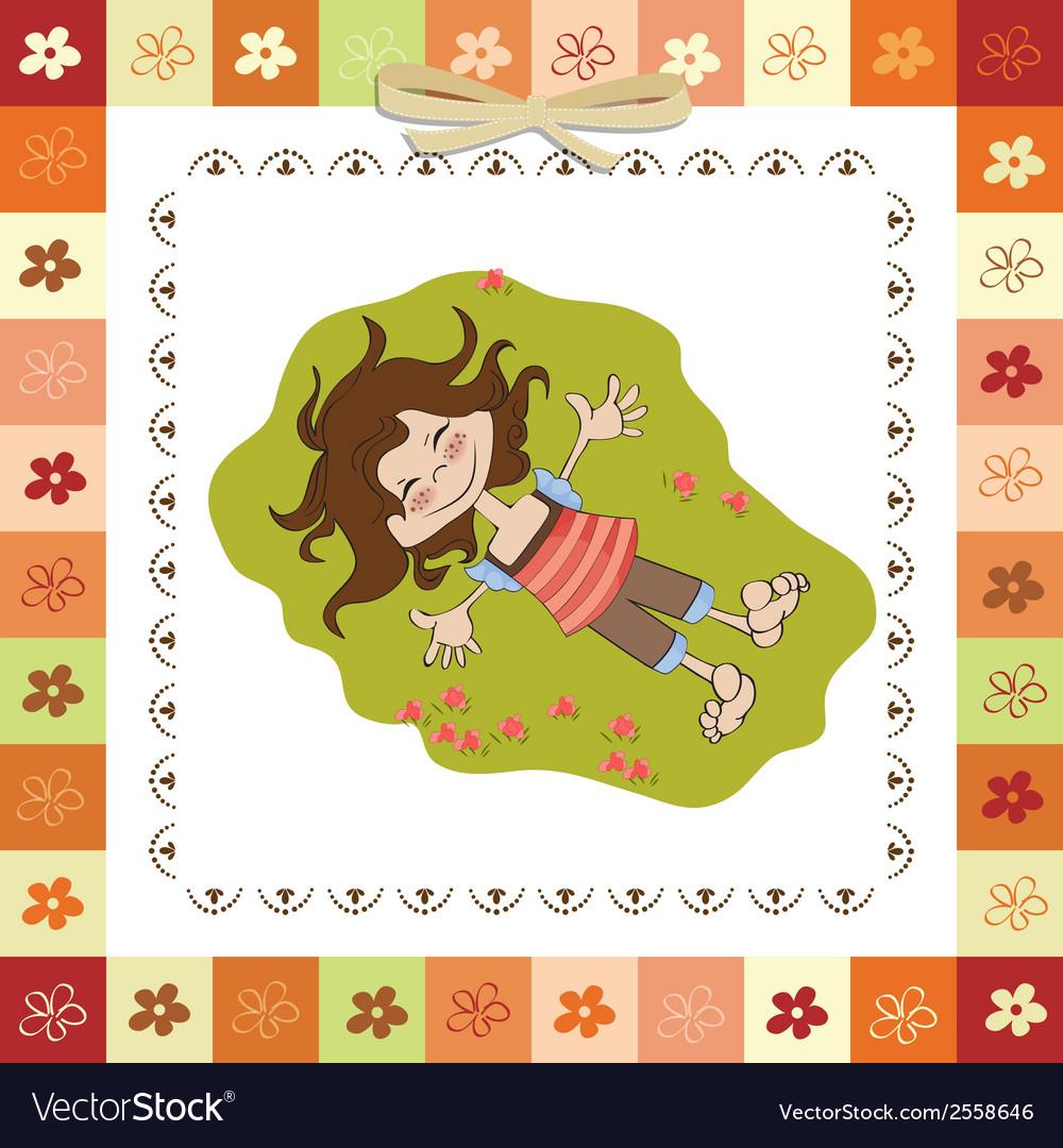 Happy little girl vector | Price: 1 Credit (USD $1)