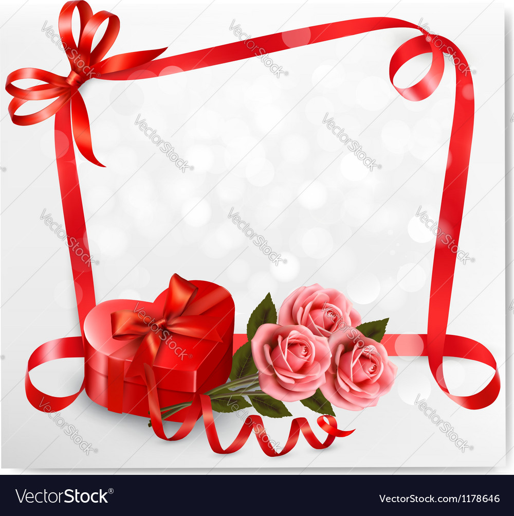 Holiday background with red heart-shaped gift box vector | Price: 3 Credit (USD $3)