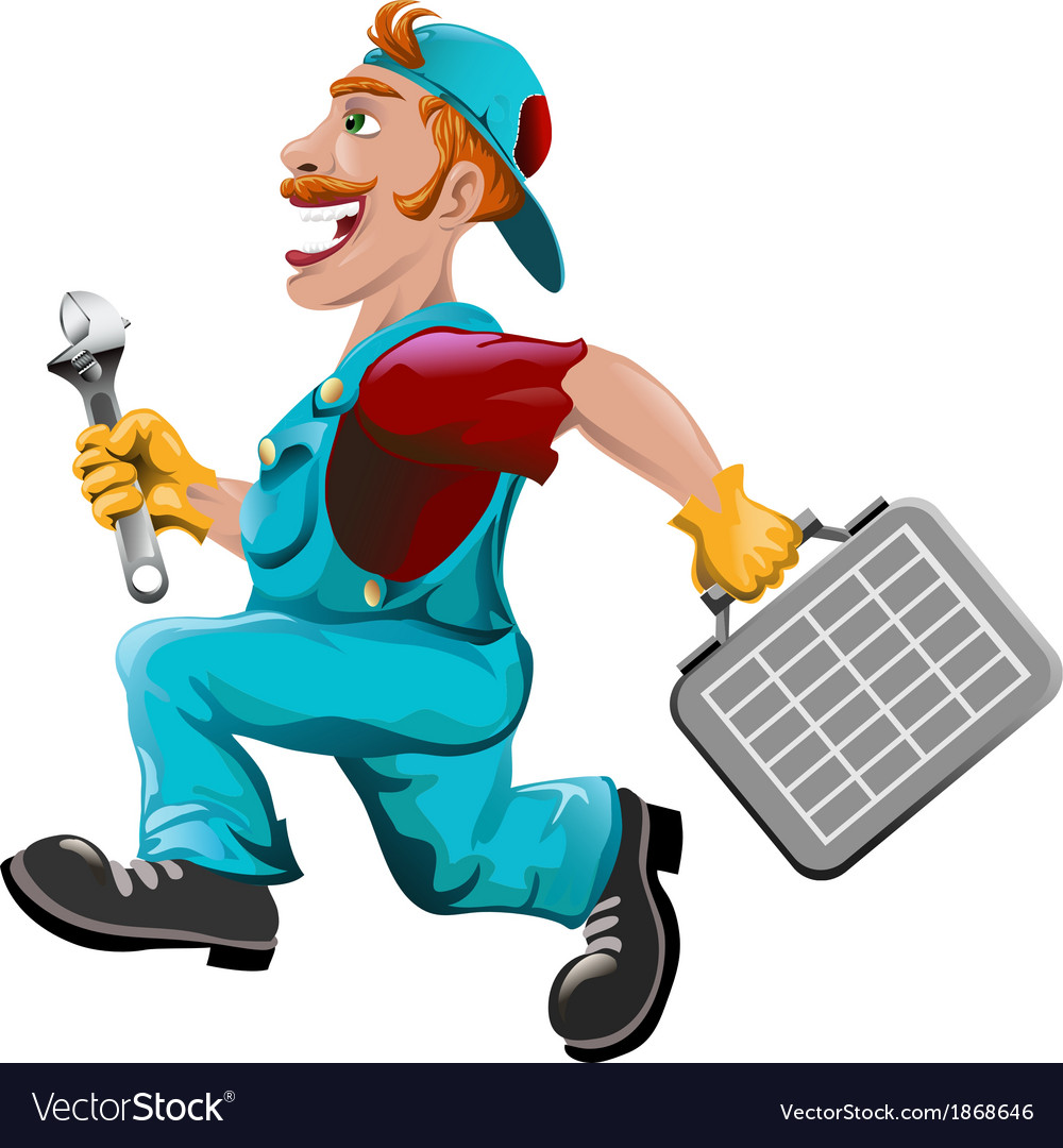 The hurrying plumber vector | Price: 5 Credit (USD $5)