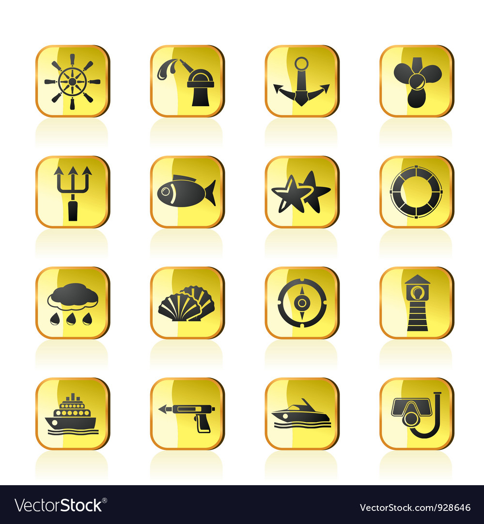 Marine and sea icons vector   Price: 1 Credit (USD $1)