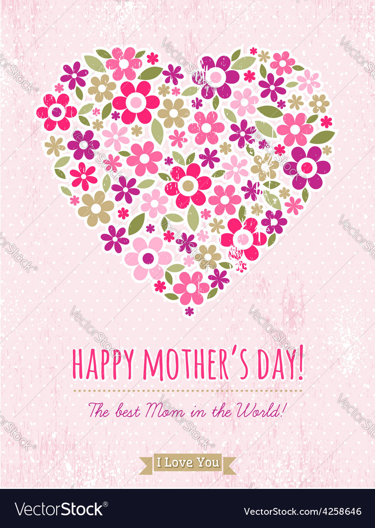 Mothers day card with heart of spring flowers vector | Price: 1 Credit (USD $1)