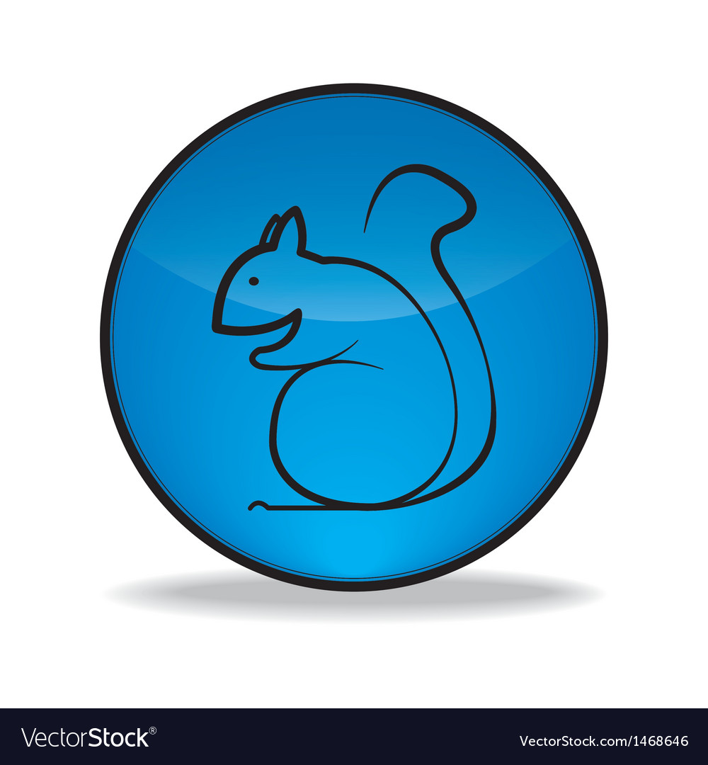 Round blue button with a picture of squirrel vector | Price: 1 Credit (USD $1)