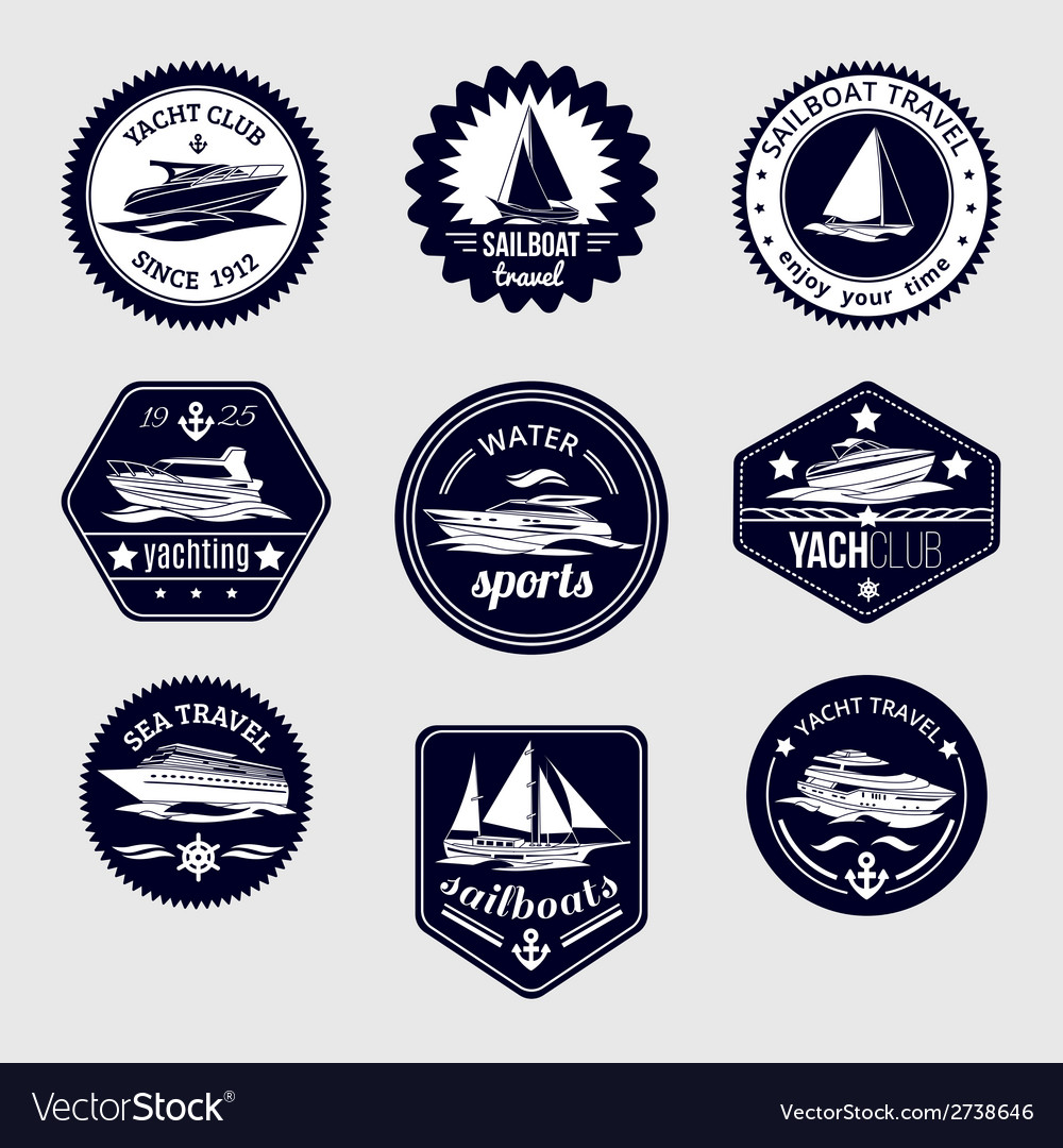 Sailboats travel labels icons set vector | Price: 1 Credit (USD $1)