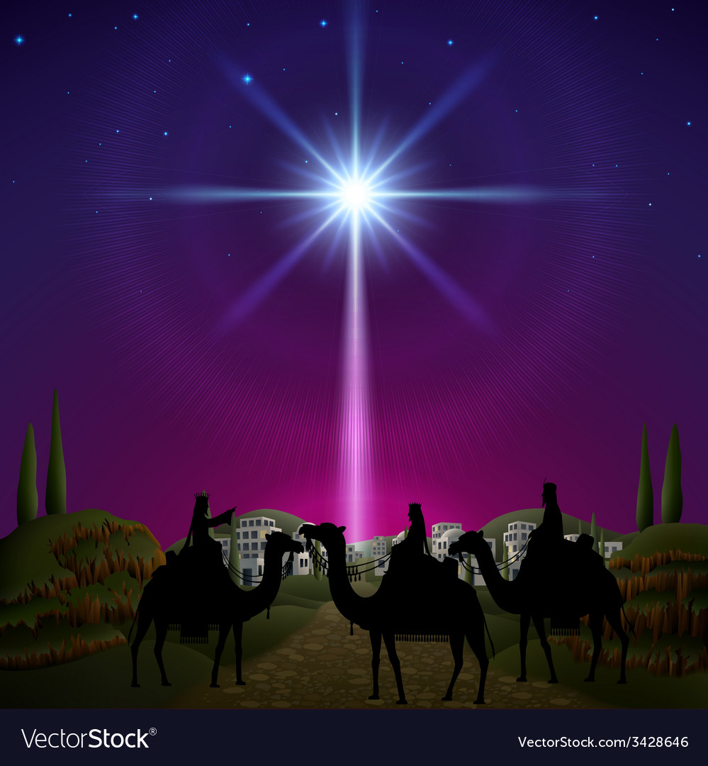 Three wise men in bethlehem vector | Price: 3 Credit (USD $3)