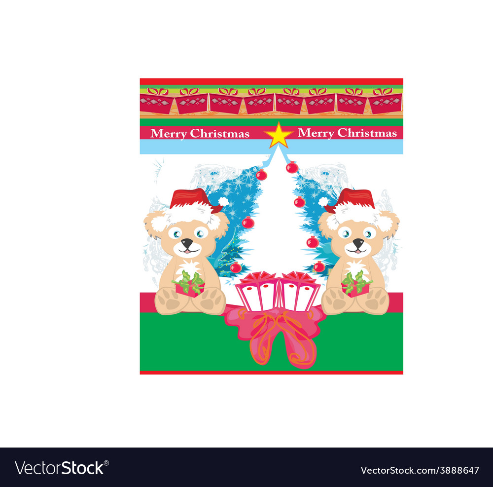 Bear in santa claus hat vector | Price: 1 Credit (USD $1)