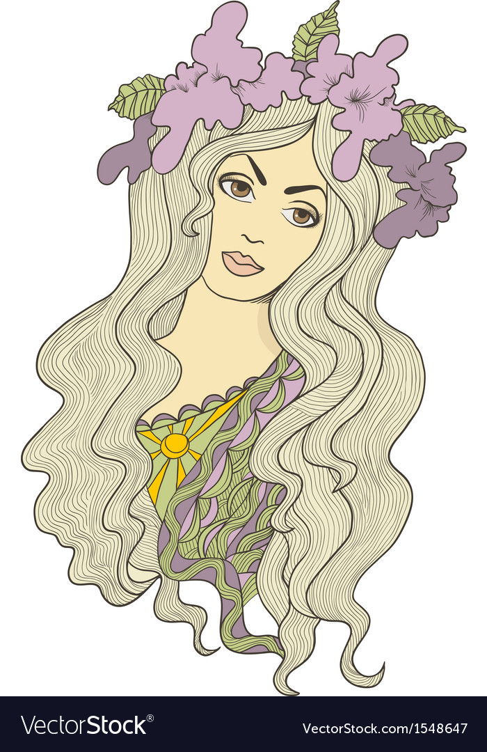 Beautiful hand drawn long-haired girl with flower vector | Price: 1 Credit (USD $1)