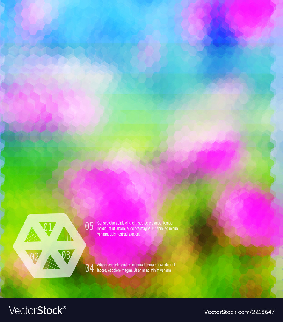 Blurred hexagon mosaic flower template vector | Price: 1 Credit (USD $1)