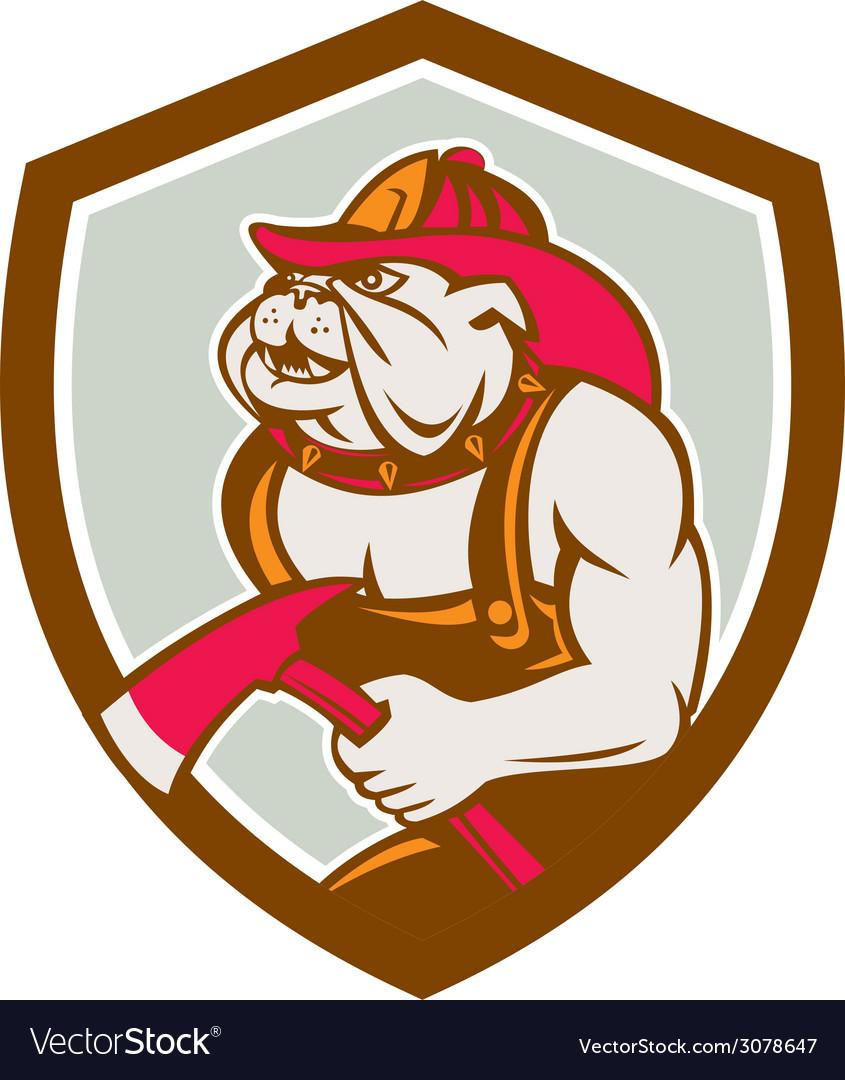 Bulldog fireman with axe shield retro vector | Price: 1 Credit (USD $1)