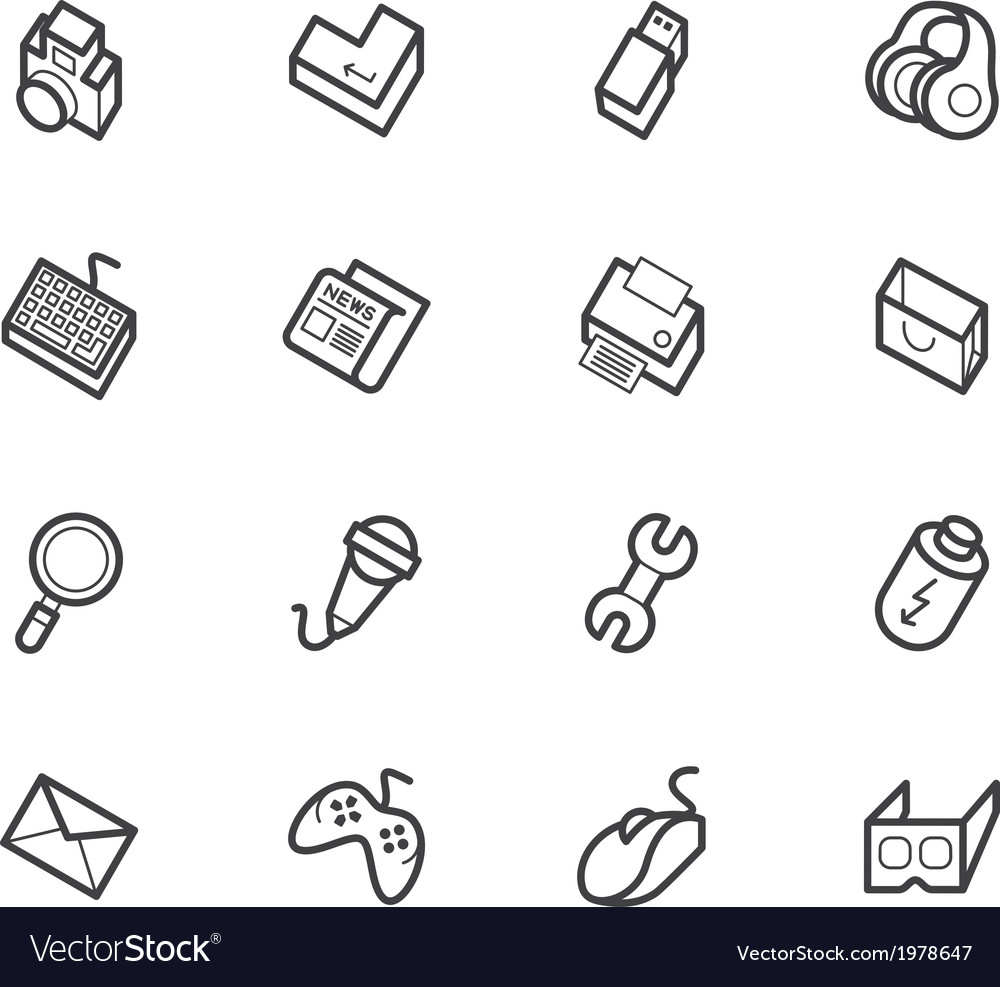 Computer element icon set on white backgrou vector | Price: 1 Credit (USD $1)
