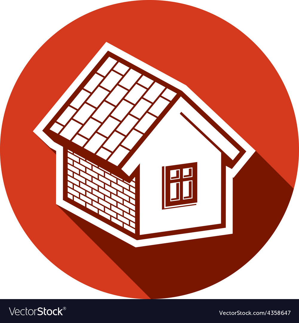 Country house constructed with bricks home symbol vector | Price: 1 Credit (USD $1)