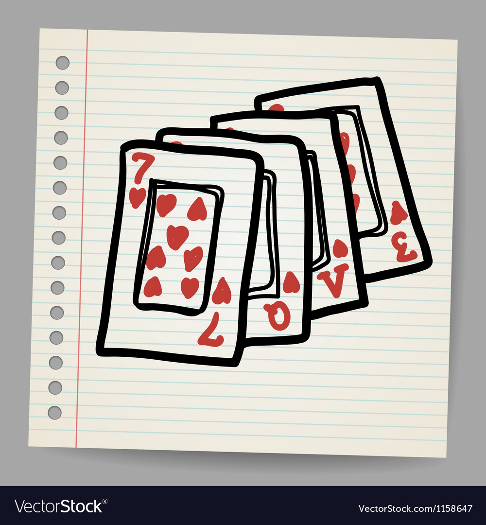 Doodle playing cards with the word love vector   Price: 1 Credit (USD $1)