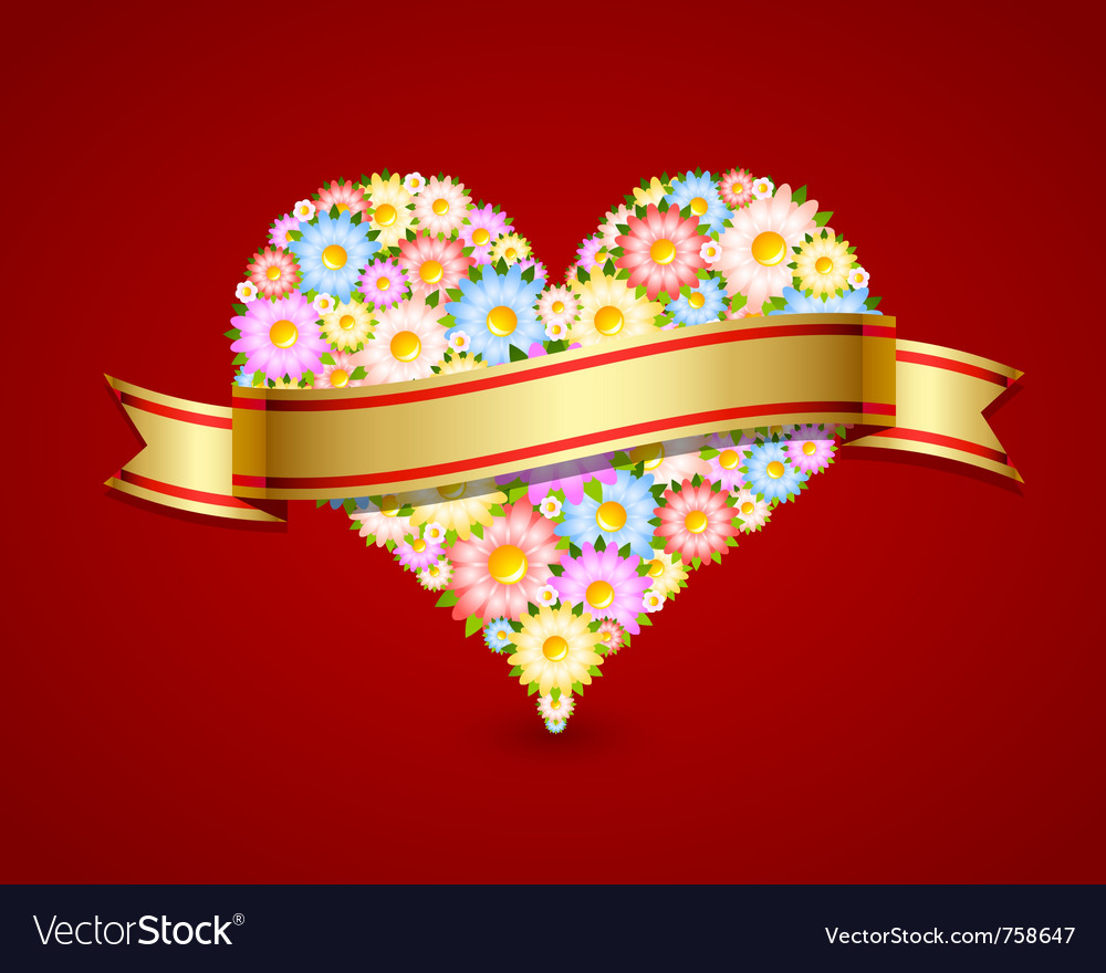 Floral heart with ribbon vector | Price: 1 Credit (USD $1)