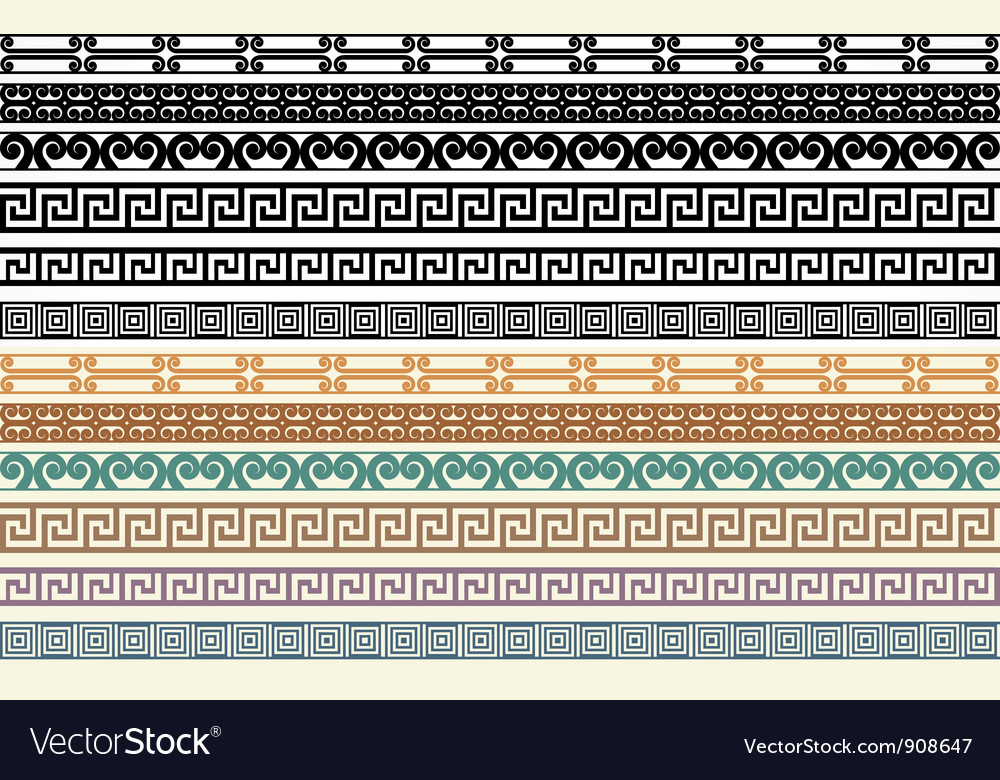 Greek border pattern design elements vector | Price: 1 Credit (USD $1)