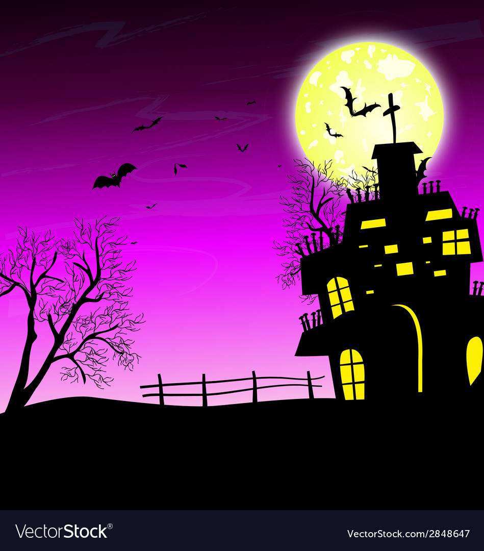 Halloween night background with castle and pumpkin vector | Price: 1 Credit (USD $1)