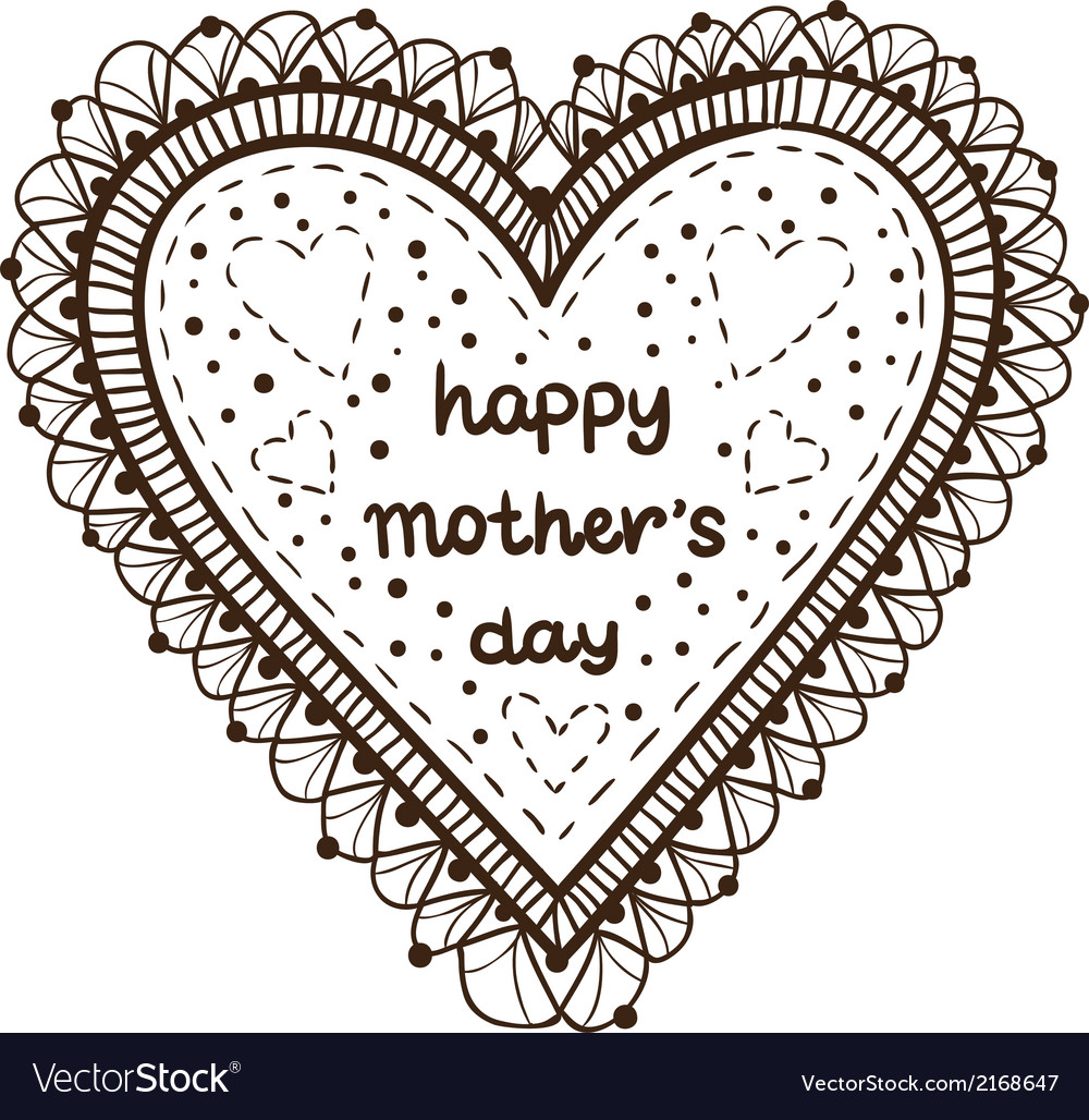 Happy mother day card concept heart element with vector | Price: 1 Credit (USD $1)