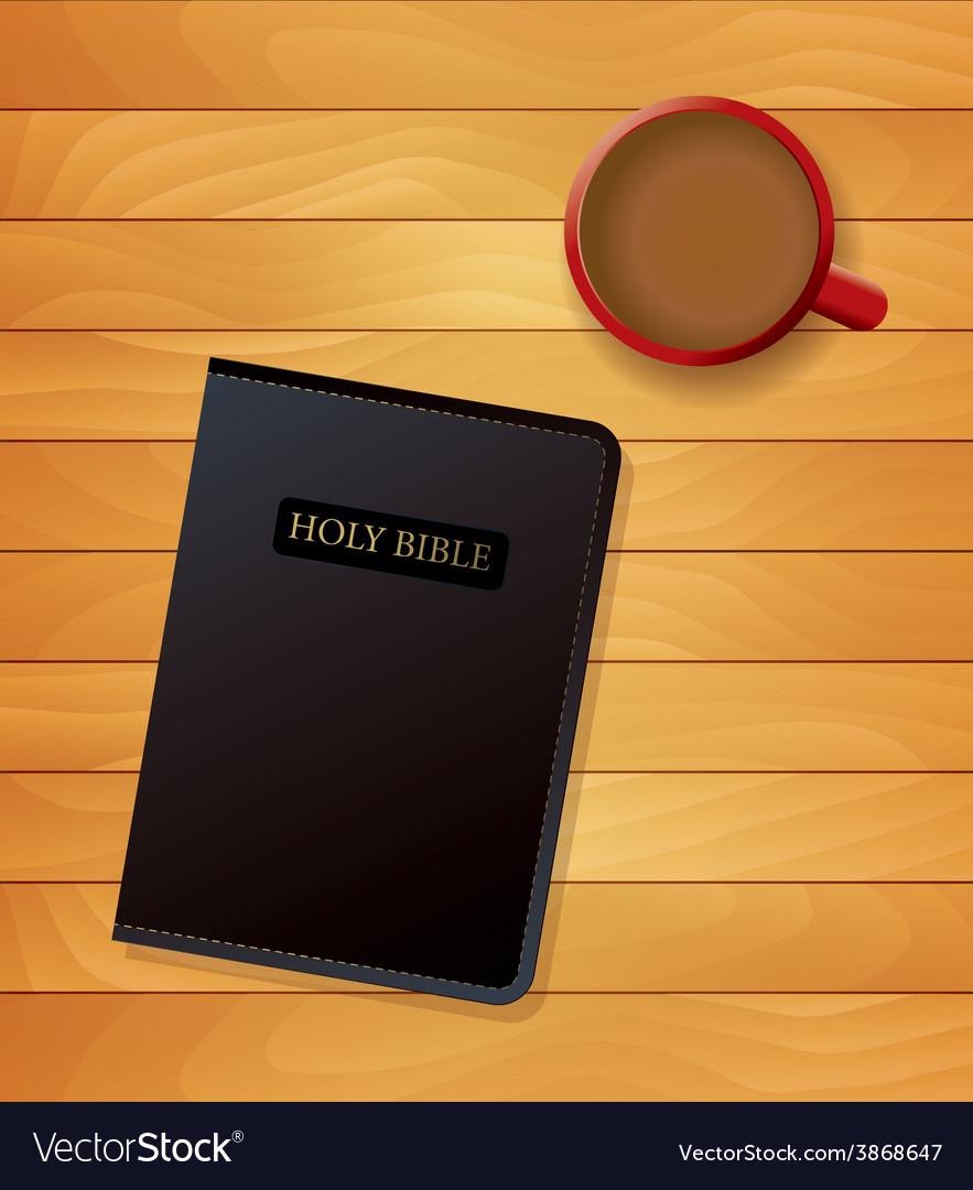 Holy bible and coffee on wood vector | Price: 1 Credit (USD $1)