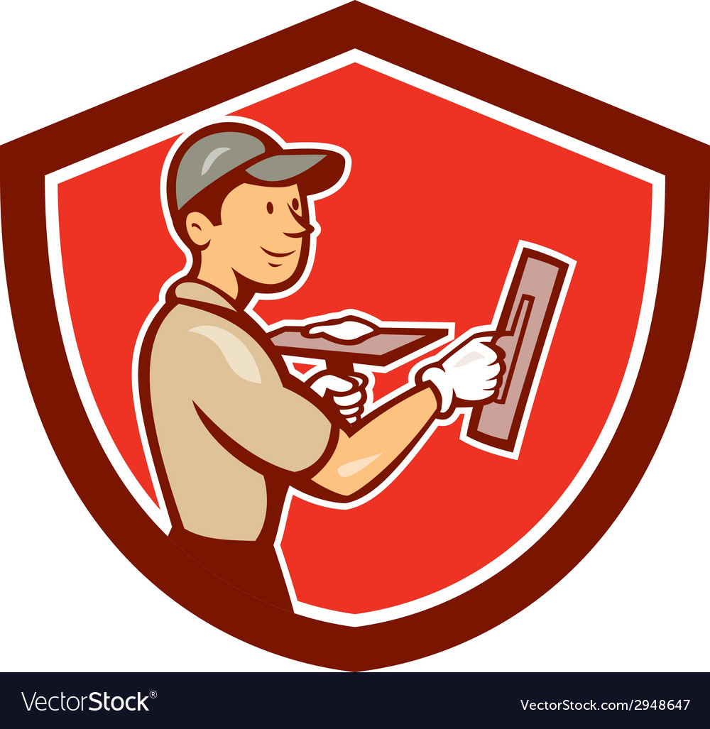 Plasterer masonry worker shield cartoon vector | Price: 1 Credit (USD $1)
