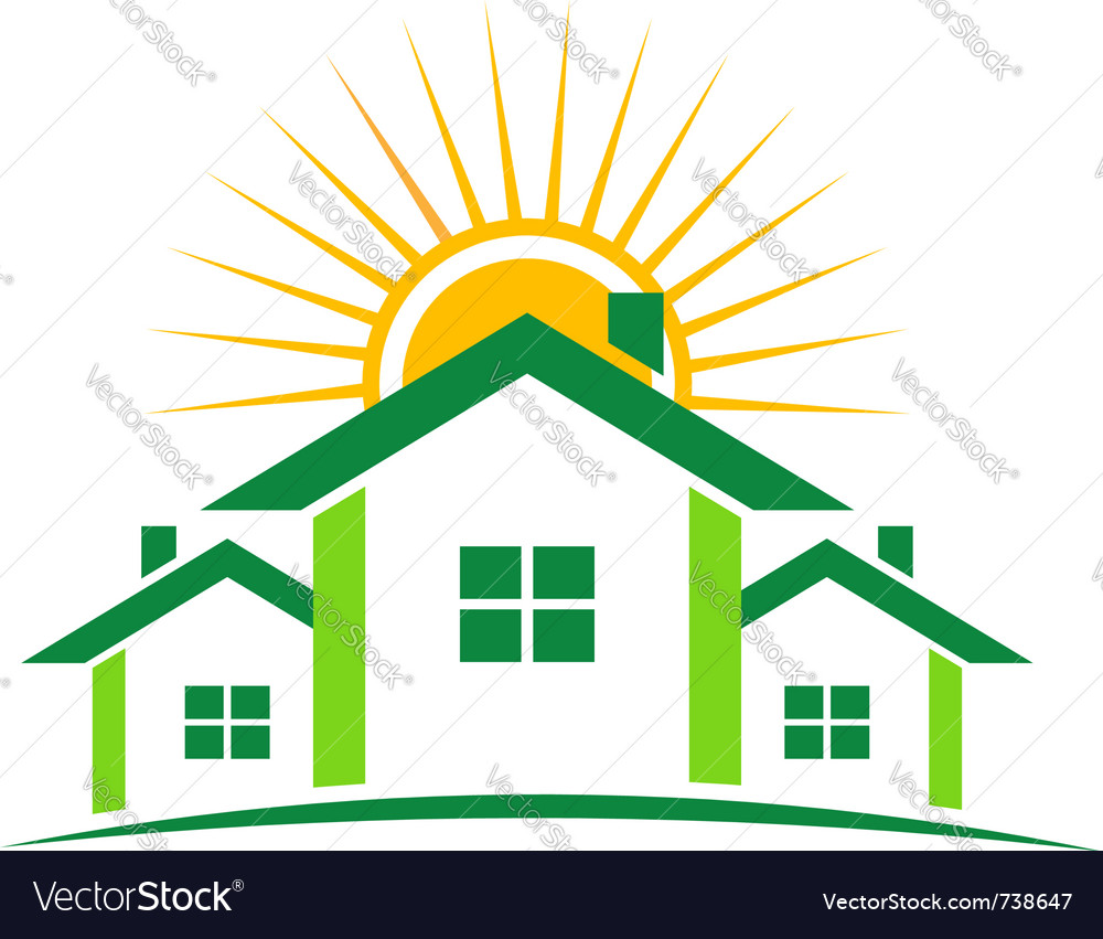 Three houses and sun vector | Price: 1 Credit (USD $1)