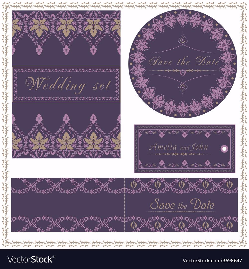 Wedding invitation cards and tag wedding set vector | Price: 1 Credit (USD $1)