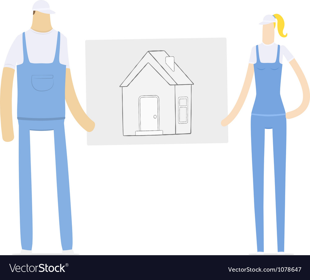 Young couple holding a draft of its future home vector | Price: 3 Credit (USD $3)