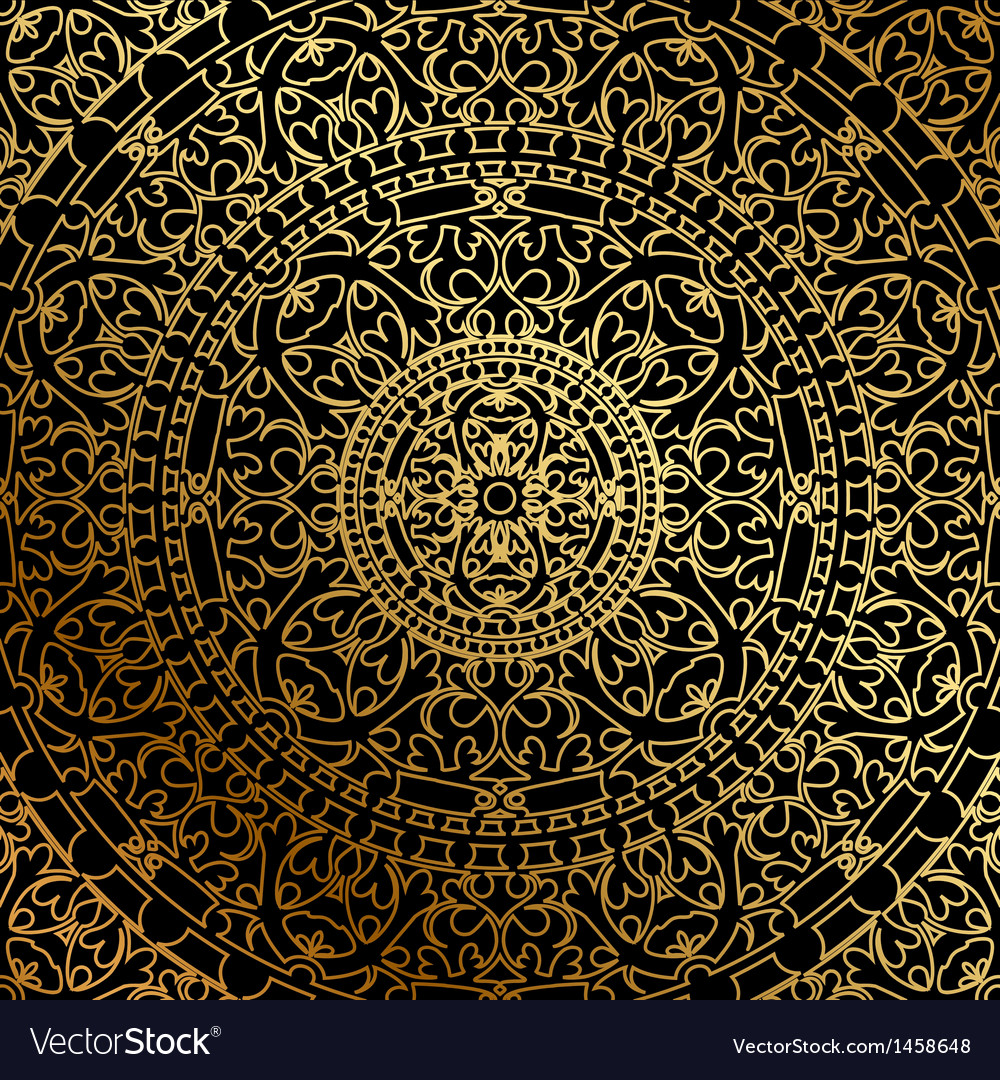 Black background oriental ornament vector | Price: 1 Credit (USD $1)