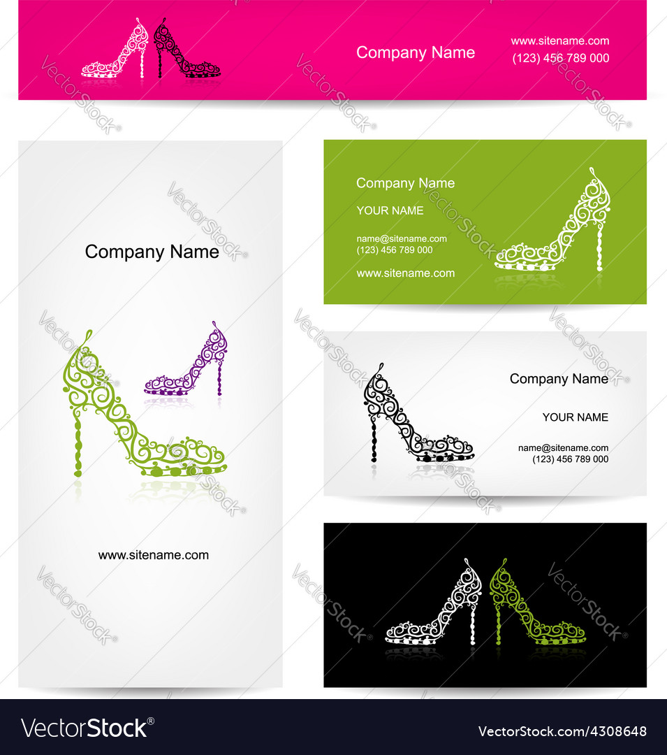 Business cards design ornate female shoes vector | Price: 1 Credit (USD $1)