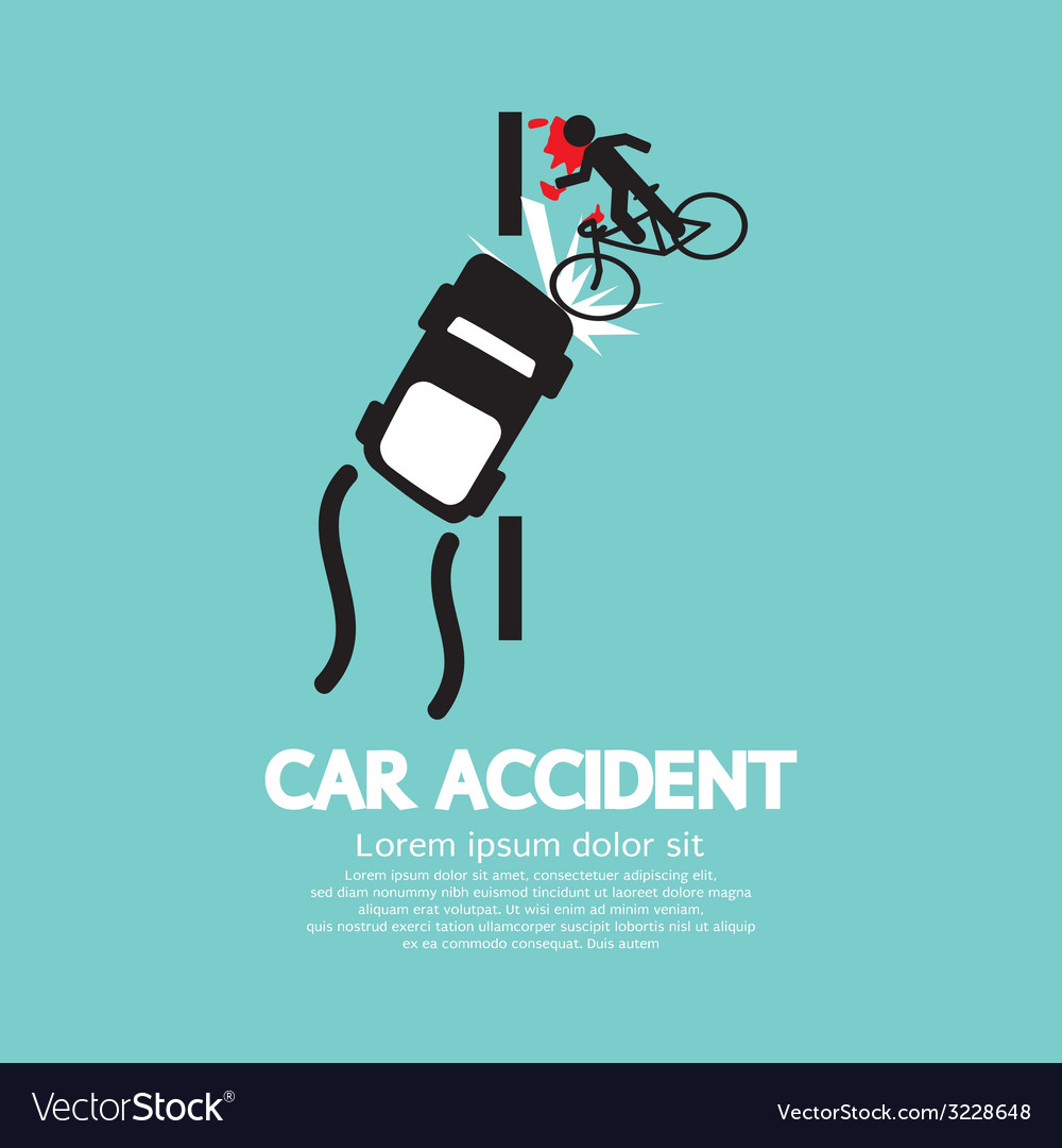 Car accident with bicycle vector | Price: 1 Credit (USD $1)
