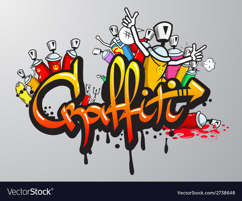 Graffiti characters print vector | Price: 1 Credit (USD $1)