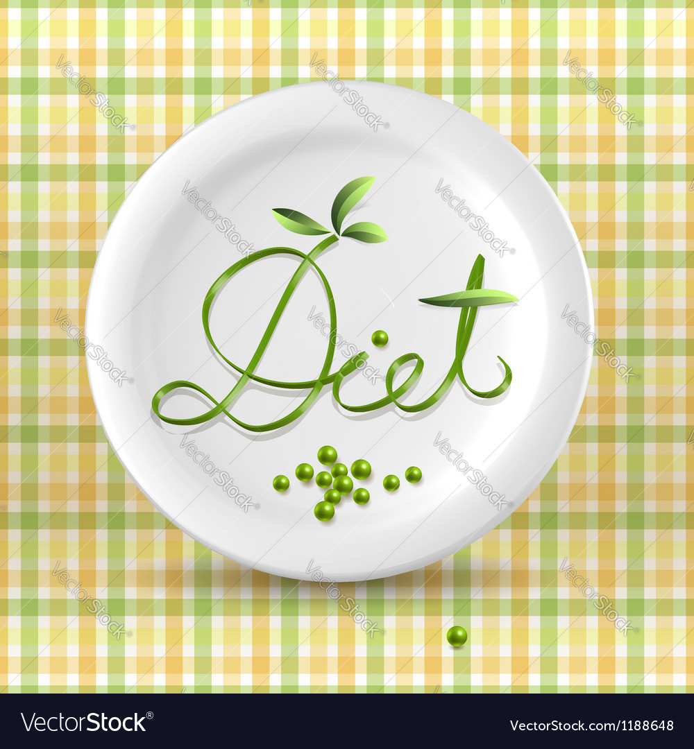 Green menu word on plate vector | Price: 1 Credit (USD $1)
