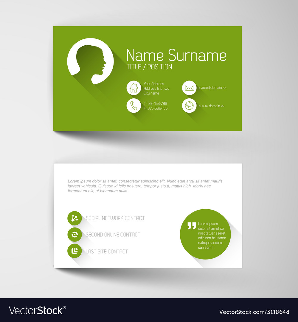 Modern green business card template with flat user vector   Price: 1 Credit (USD $1)