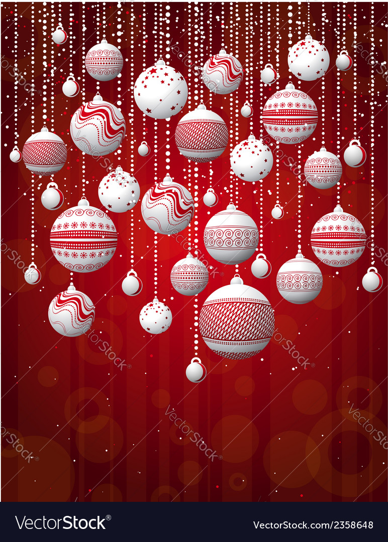 Red card with christmas balls vector | Price: 1 Credit (USD $1)