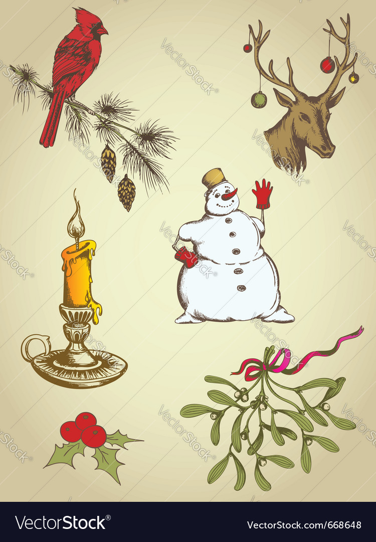 Set of vintage hand drawn christmas elements vector | Price: 1 Credit (USD $1)