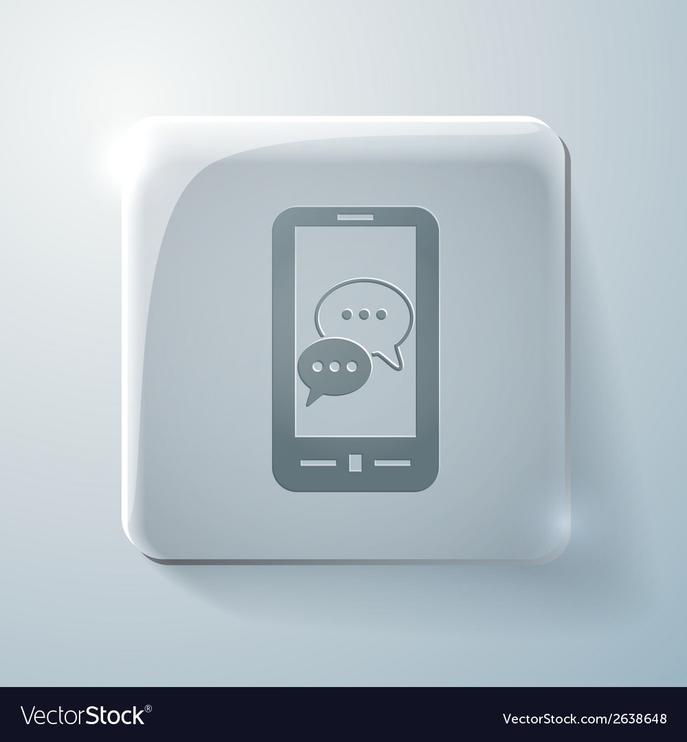 Smartphon cloud of speaking dialogue glass icon vector | Price: 1 Credit (USD $1)