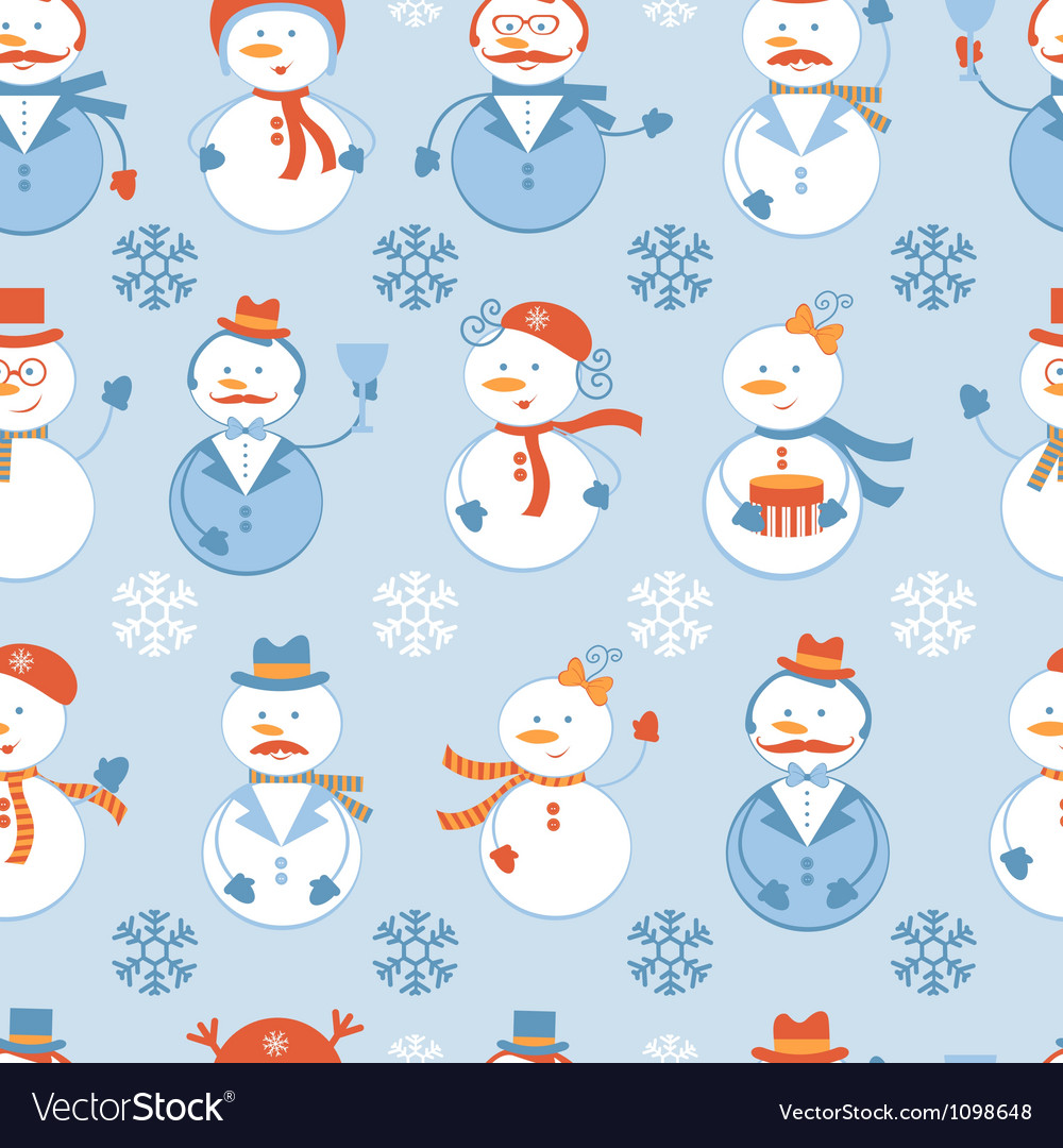 Snowmen seamless background vector | Price: 1 Credit (USD $1)