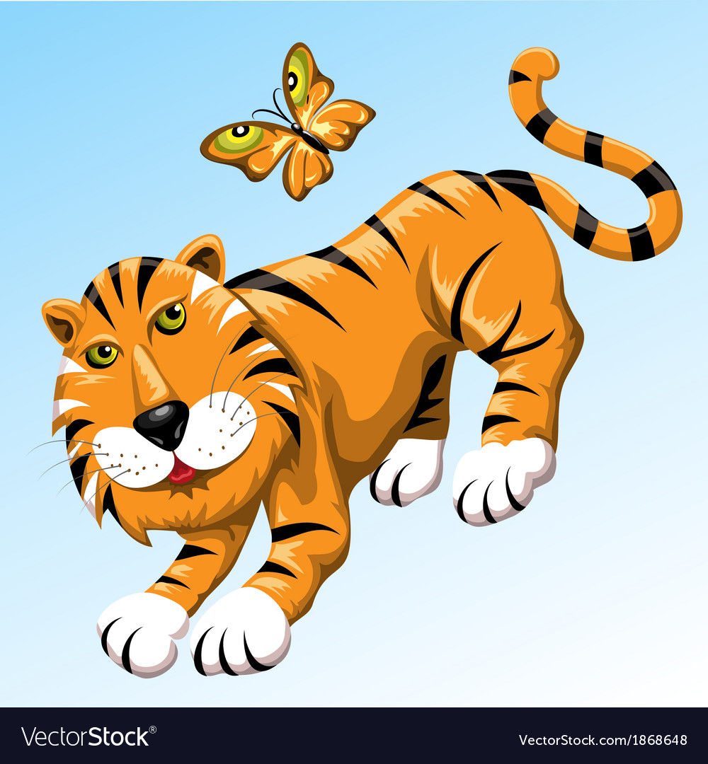 Tiger and butterfly vector   Price: 3 Credit (USD $3)