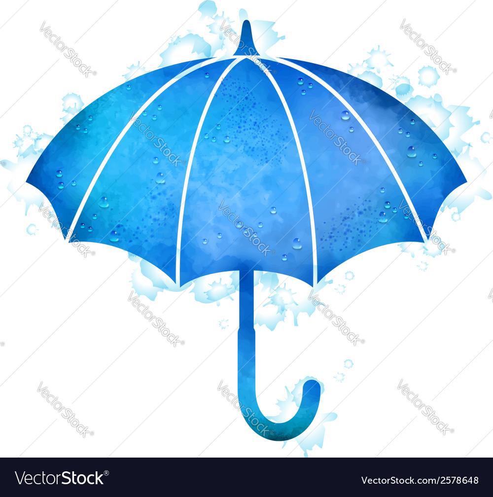 Watercolor umbrella rain drops vector | Price: 1 Credit (USD $1)