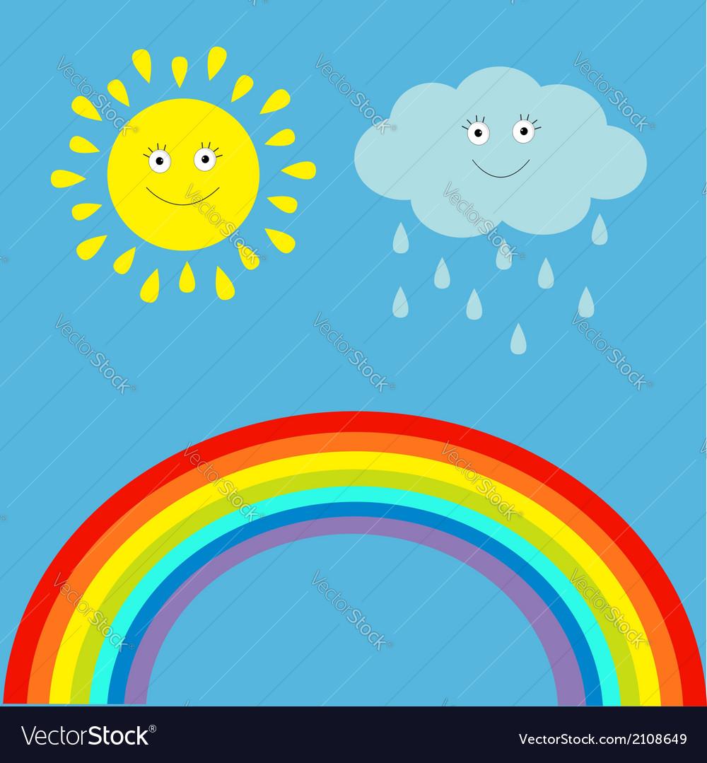 Cartoon sun cloud with rain and rainbow set vector | Price: 1 Credit (USD $1)