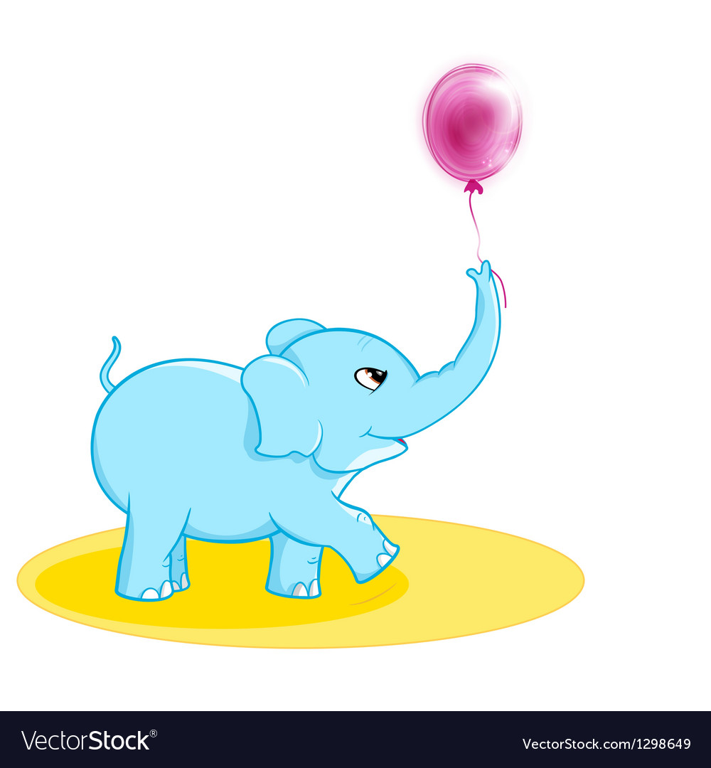 Cute elephant with ballon vector | Price: 1 Credit (USD $1)