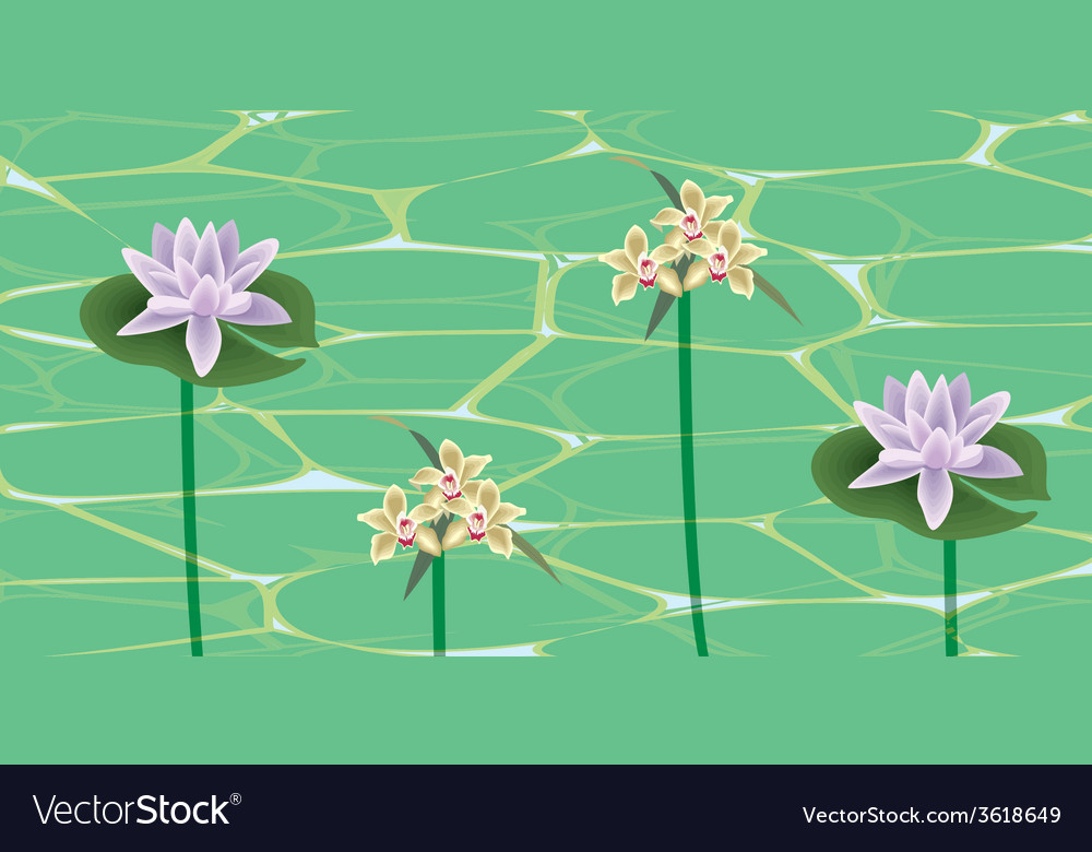 Flowers on a water surface vector | Price: 1 Credit (USD $1)