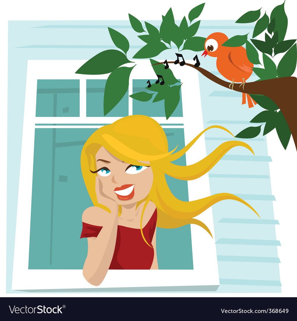 Girl at window vector | Price: 3 Credit (USD $3)