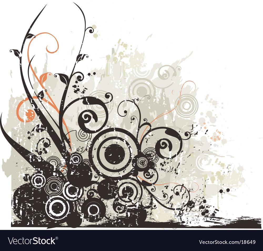 Grunge floral design background vector   Price: 1 Credit (USD $1)