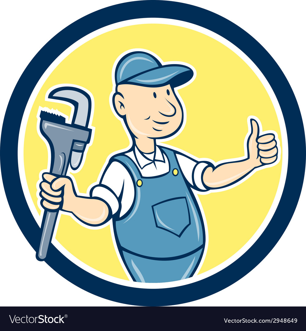 Plumber monkey wrench thumbs up cartoon vector | Price: 1 Credit (USD $1)