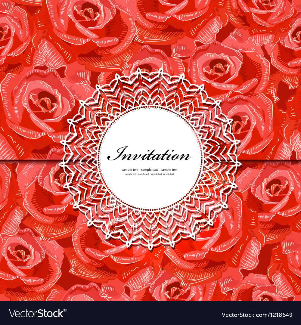 Rose invitation vector | Price: 1 Credit (USD $1)